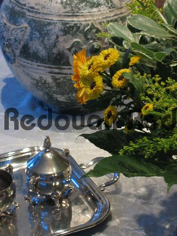 Product picture Color nuances between silver, flowers and pottery on a white